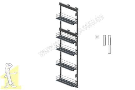 Карго MAXI 200 бічне праве 5 поверхів 1700 хром/графіт MAXIMA SILVA Rejs WE32.0012.43.781