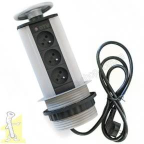Настільний продовжувач GTV врізний, круглий,максимум 3600W, IP20 ,три розетки, AE-BPW3GU-80, колір срібний