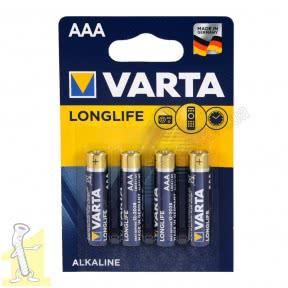 Батарейка VARTA LONGLIFE AAA блістер 4 шт. ALKALINE