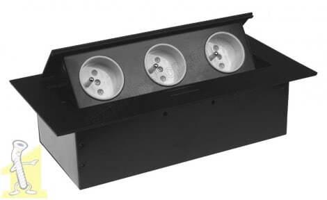 Розетка в стільницю FLEXIPORT Чорна на 3 гнізда + кабель